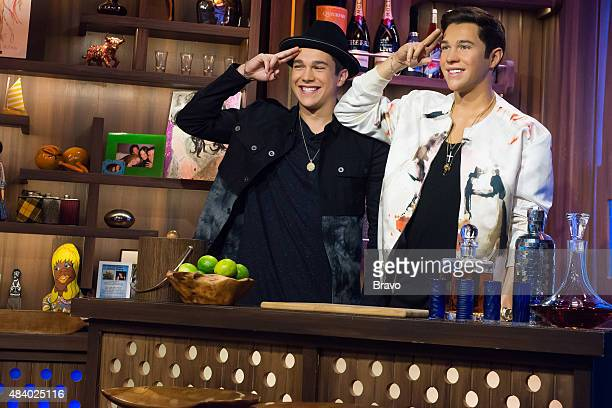 Austin Mahone with his wax figure