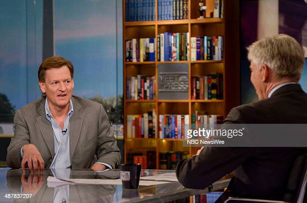 Author Michael Lewis appears on 'Meet the Press' with host David Gregory in Washington DC Sunday April 6 2014