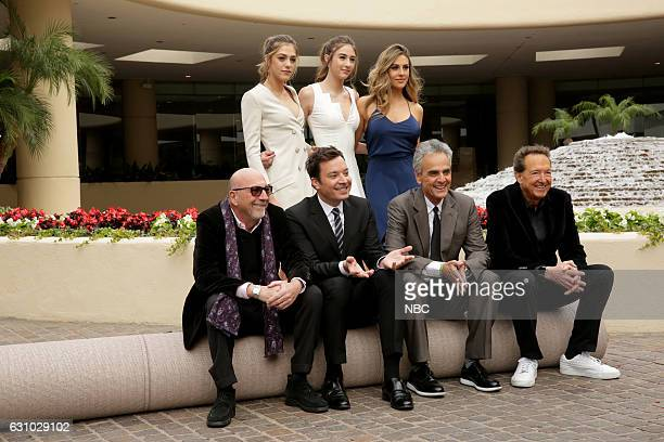 Back Row Miss Golden Globe 2017 Sistine Rose Stallone Scarlet Rose Stallone and Sophia Rose Stallone Front Row President of the Hollywood Foreign...