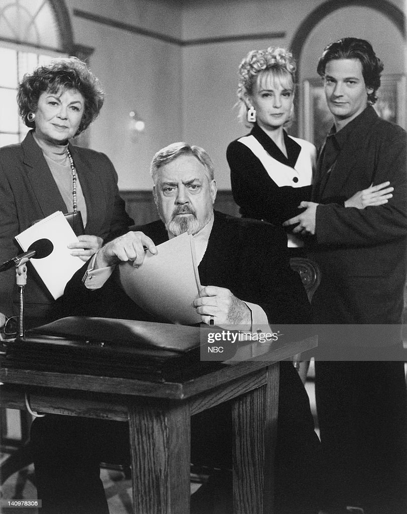 Barbara Hale as Della Street, Raymond Burr as Perry Mason, Heather McAdam as Kaitlynn Parrish, Brian McNamara as Sam Wald -- Photo by: NBCU Photo Bank