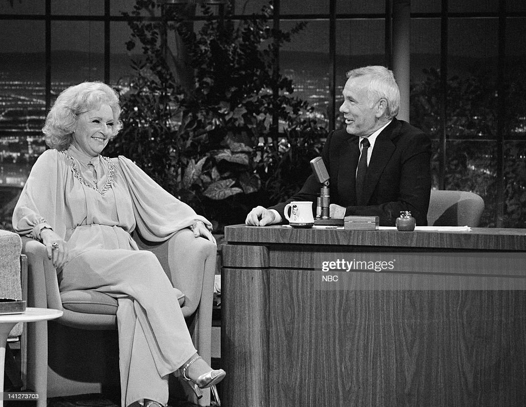 <a gi-track='captionPersonalityLinkClicked' href=/galleries/search?phrase=Betty+White&family=editorial&specificpeople=213602 ng-click='$event.stopPropagation()'>Betty White</a> during an interview with host <a gi-track='captionPersonalityLinkClicked' href=/galleries/search?phrase=Johnny+Carson&family=editorial&specificpeople=206990 ng-click='$event.stopPropagation()'>Johnny Carson</a> on August 14, 1981 -- Photo by: NBCU Photo Bank
