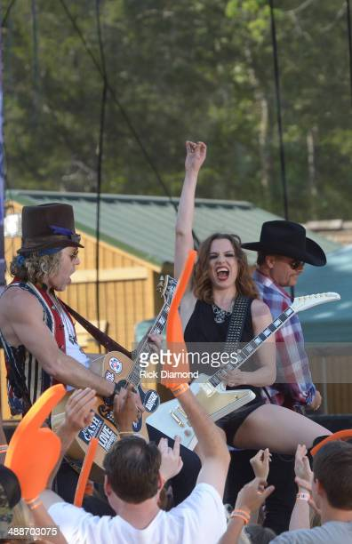 Pictured Big Rich's Big Kenny and John Rich are joined by Halestorm's Lizzie Hale on the set of 'ESPN GameDay' opening taping as Big Rich Cowboy Troy...