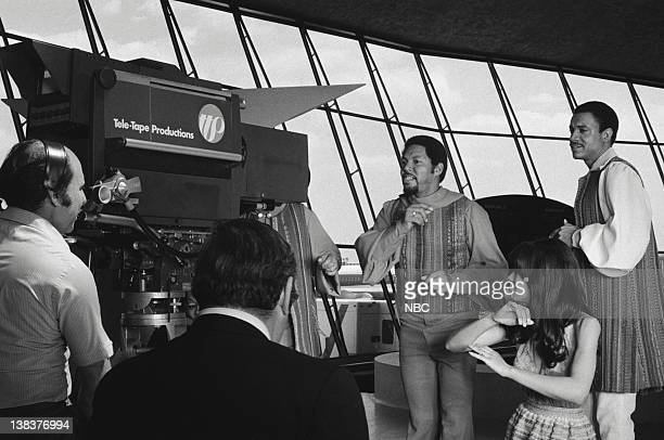 Billy Davis Jr Marilyn McCoo and Lamonte McLemore of The Fifth Dimension during video shoot for 'Aquarius/Let the Sunshine In' at JFK Airport during...