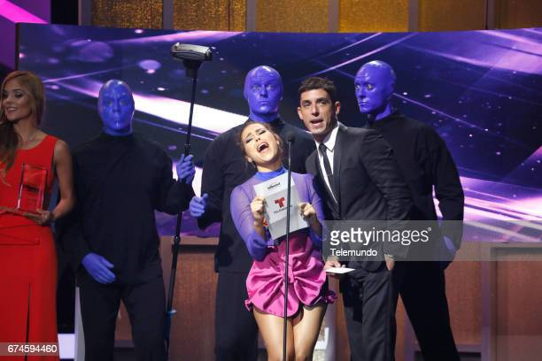 Blue Man Group Danna Paola and Alberto Guerra speak on stage at the Watsco Center in the University of Miami Coral Gables Florida on April 27 2017