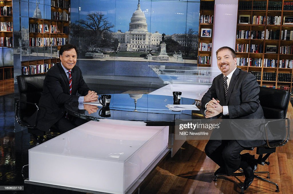 – Bob Costas, NBC Sports, left, and moderator Chuck Todd, right, appear on 'Meet the Press' in Washington D.C., Sunday, Feb. 3, 2013.