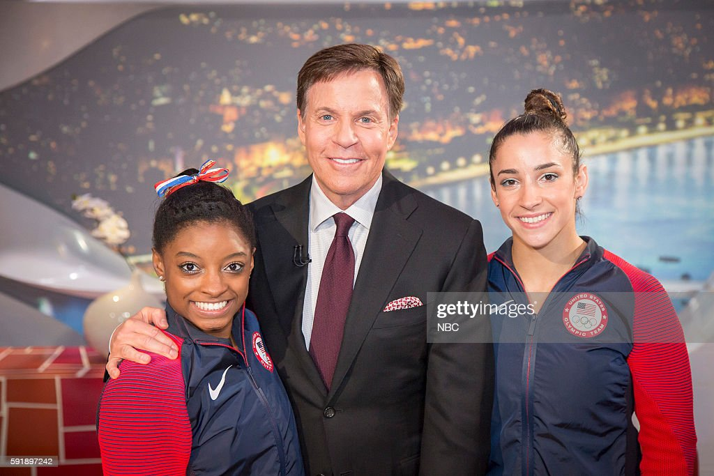 Bob Costas (center) poses with U.S. Gymnasts (l-r) Simone Biles and Aly Raisman on August 17, 2016 --