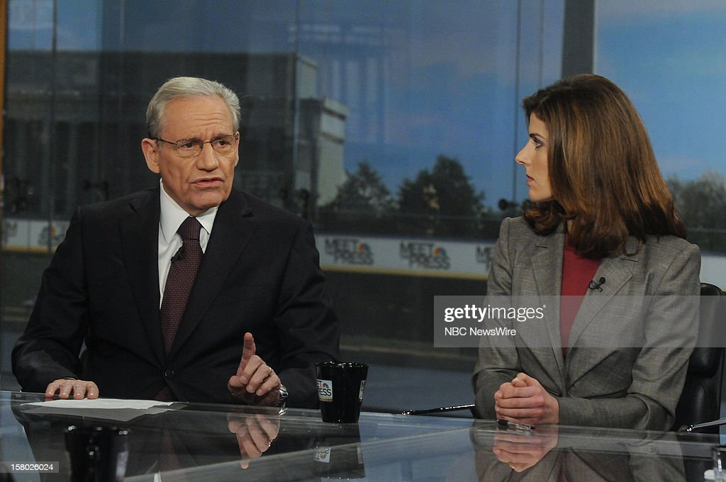 – Bob Woodward, Associate Editor, The Washington Post, left, and Julianna Goldman, White House Correspondent, Bloomberg News, right, appear on 'Meet the Press' in Washington D.C., Sunday, Dec. 9, 2012.