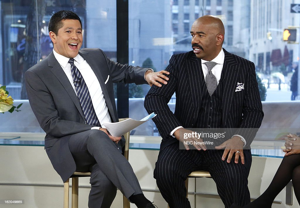 Carl Quintanilla and Steve Harvey appear on NBC News' 'Today' show --