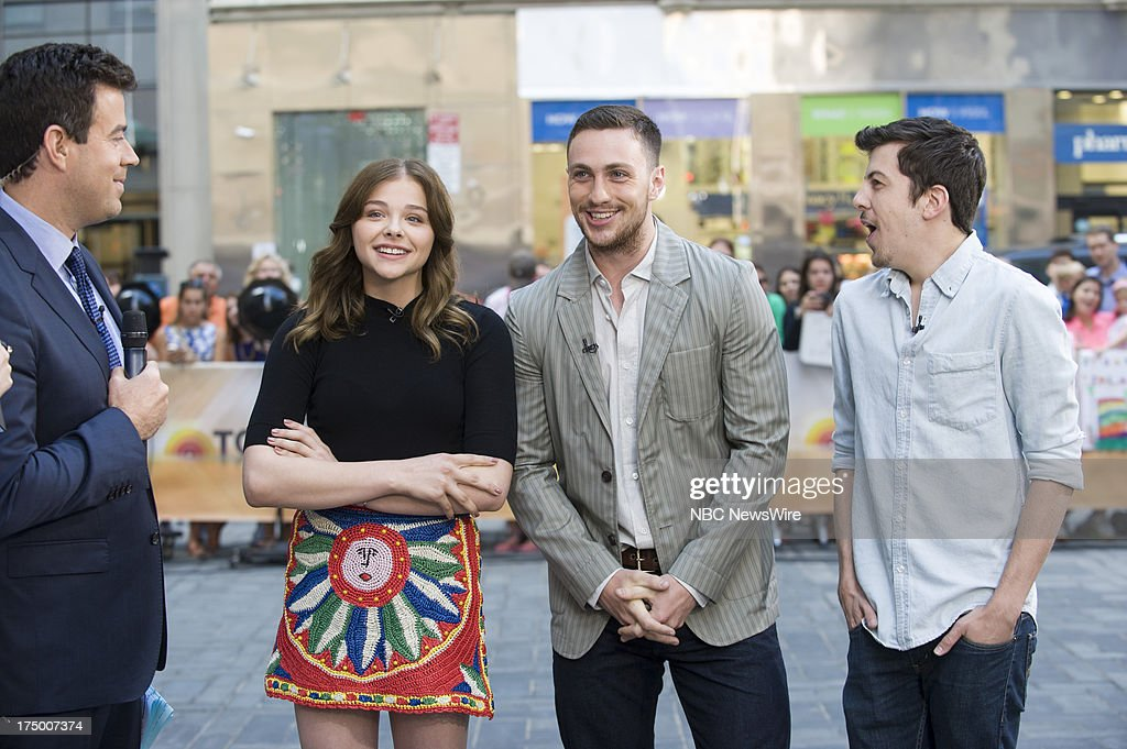 <a gi-track='captionPersonalityLinkClicked' href=/galleries/search?phrase=Carson+Daly&family=editorial&specificpeople=202941 ng-click='$event.stopPropagation()'>Carson Daly</a>, actress Chloe Grace Moretz, actors Aaron Taylor-Johnson, and <a gi-track='captionPersonalityLinkClicked' href=/galleries/search?phrase=Christopher+Mintz-Plasse&family=editorial&specificpeople=4326251 ng-click='$event.stopPropagation()'>Christopher Mintz-Plasse</a> appear on NBC News' Today show on July 29, 2013 --