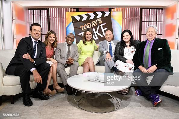 Carson Daly Natalie Morales Al Roker Savannah Guthrie Matt Lauer Maddie Baillio Harvey Fierstein on the 'Today' show on Tuesday June 7 2016 from...