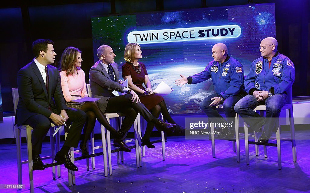Carson Daly Natalie Morales Savannah Guthrie Matt Lauer Mark Kelly and Scott Kelly appear on NBC News' 'Today' show