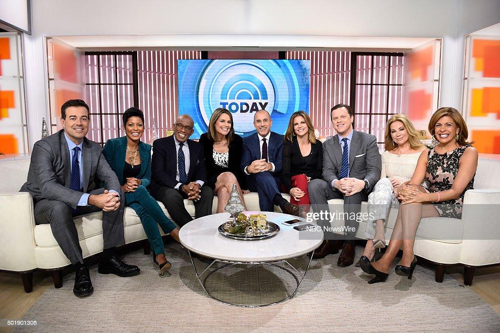 Carson Daly,Tamron Hall, Al Roker, Savannah Guthrie, Matt Lauer, Natalie Morales, Willie Geist, Kathie Lee Gifford and Hoda Kotb appear on NBC News' 'Today' show --
