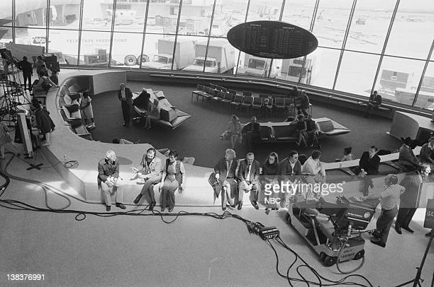 Cast and crew of The Fifth Dimension video for 'Aquarius/Let the Sunshine In' at JFK Airport during a special presentation of Grammy winning songs...