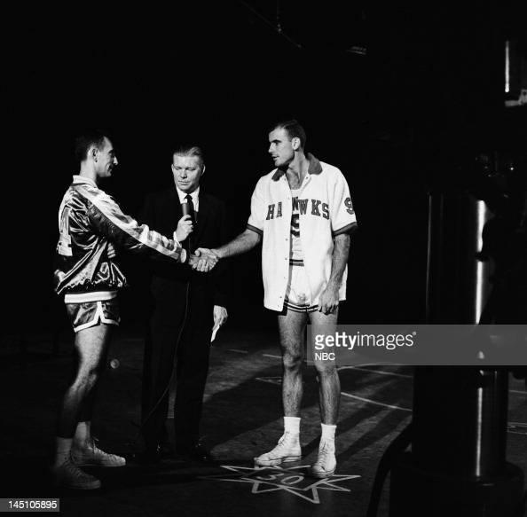 Celebrity contestant Boston Celtics' Bob Cousy host Jack Lescoulie celebrity contestant St Louis Hawks' Bob Pettit