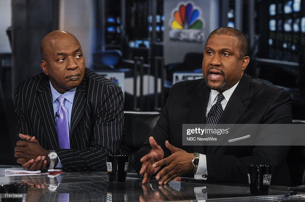 Charles Ogletree Professor at Harvard Law School left and Tavis Smiley Host of the 'Tavis Smiley Show' on PBS right appear on 'Meet the Press' in...