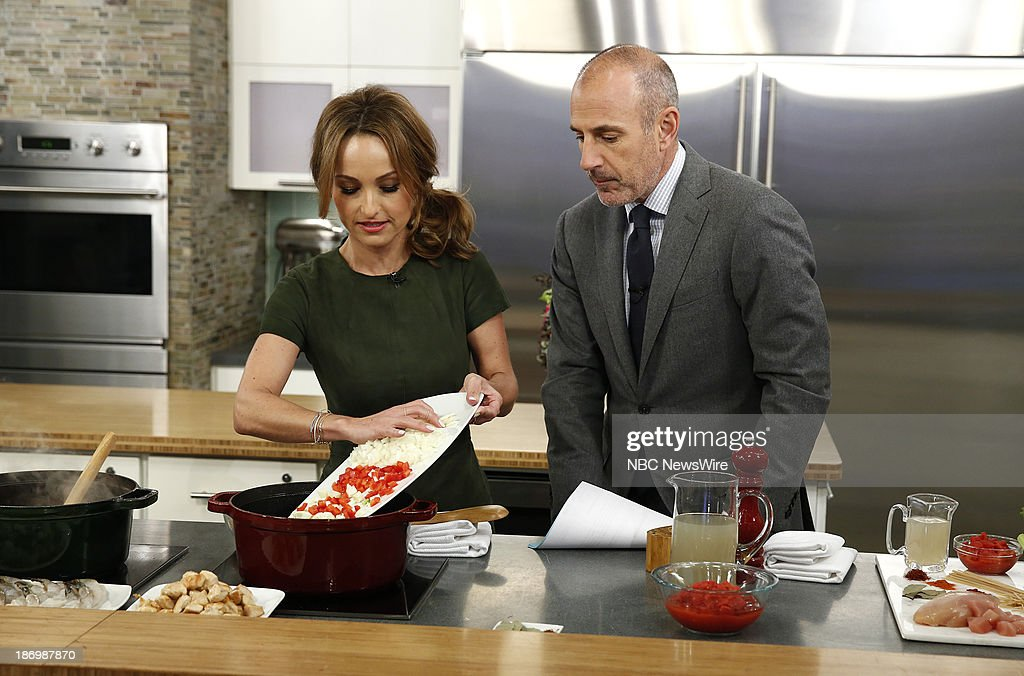 Chef Giada de Laurentiis and NBC News' Matt Lauer appear on NBC News' 'Today' show on November 5, 2013 --