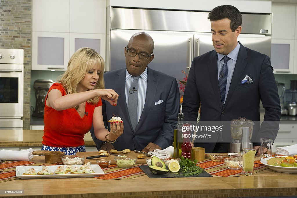 Chef Kelsey Nixon, NBC News' Al Roker and Carson Daly appear on NBC News' Today show on July 29, 2013 --