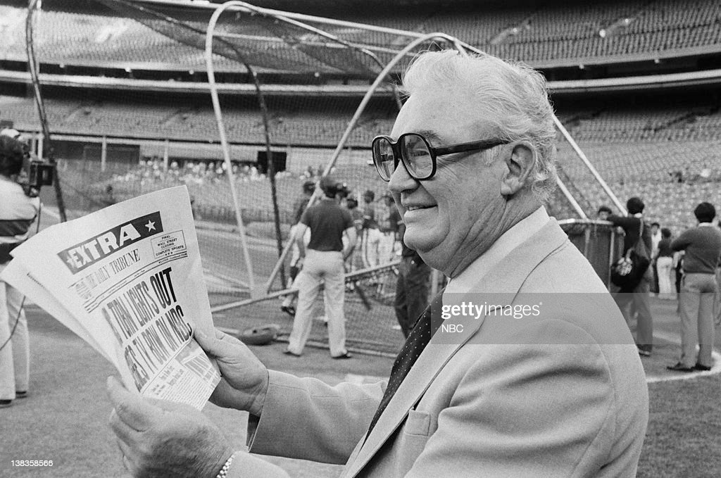 Chicago Cubs announcer Harry Caray reading NBC headlines at Shea Stadium in Queens, NY for the 1984 World Series promos on September 7, 1984