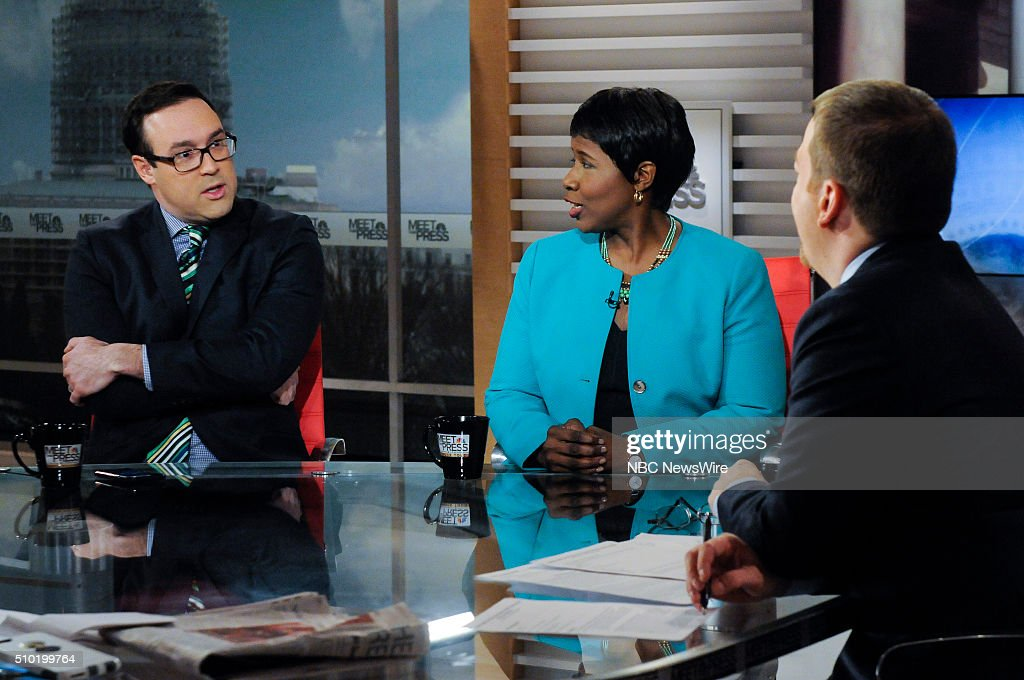 Chris Cillizza, Political Reporter, The Washington Post, Gwen Ifill, Moderator & Managing Editor, PBS 'Washington Week' and moderator Chuck Todd appear on 'Meet the Press' in Washington, D.C., Sunday Feb. 14, 2016.