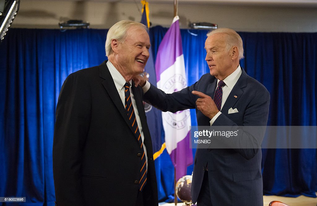 PLAYS 'HARDBALL' WITH CHRIS MATTHEWS -- Pictured: (l-r) Chris Matthews, Vice President Joe Biden --