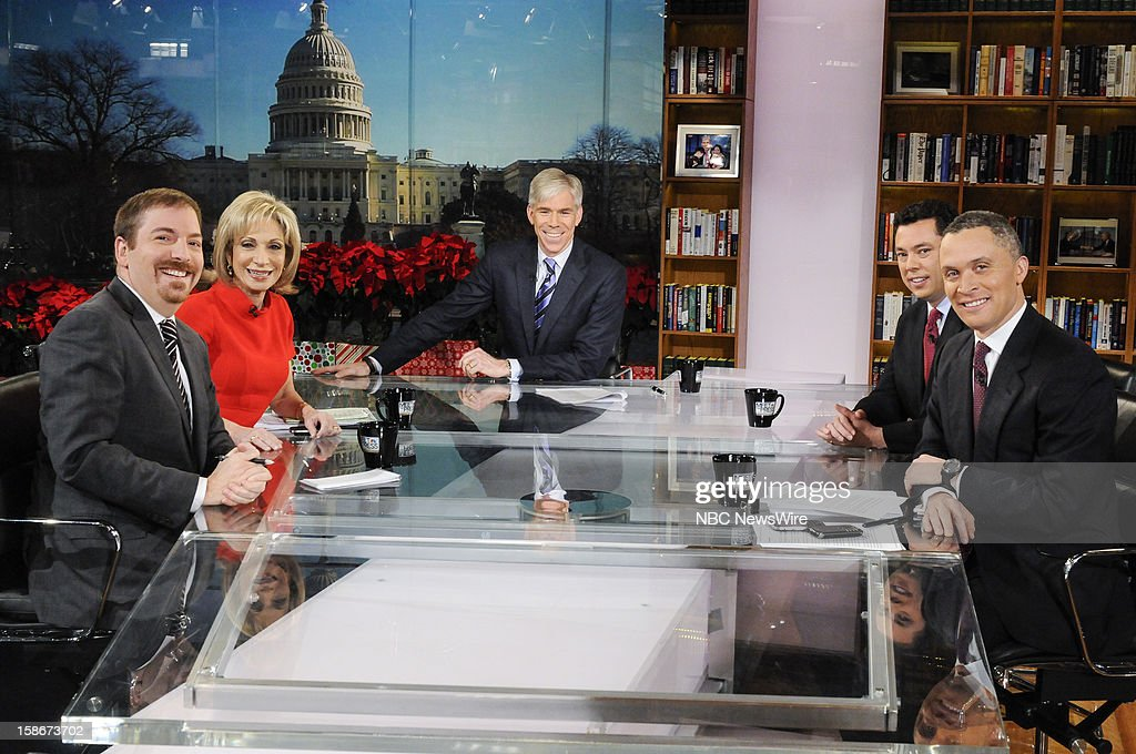 – Chuck Todd, Political Director, NBC News, Andrea Mitchell, Chief Foreign Affairs Correspondent, NBC News, moderator David Gregory, Rep. Jason Chaffetz (R-UT) and Former Rep. Harold Ford, Jr. (D-TN) appear on 'Meet the Press' in Washington D.C., Sunday, Dec. 23, 2012.