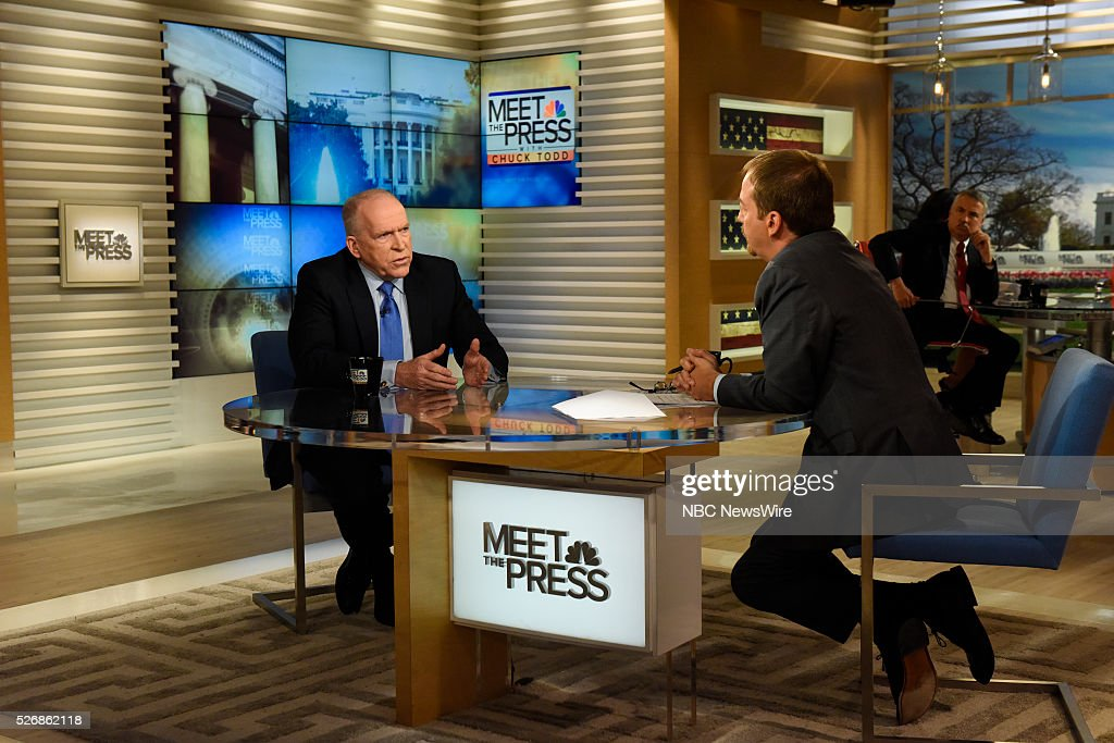 CIA Director John Brennan, left, and moderator Chuck Todd, right, appear on 'Meet the Press' in Washington, D.C., Sunday May 1, 2016.