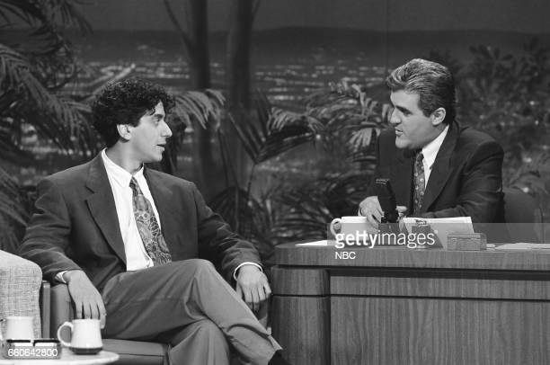 Comedian Jeff Cesario during an interview with guest host Jay Leno on July 30 1991