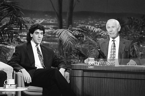 Comedian Jeff Cesario during an interview with host Johnny Carson on January 4 1991