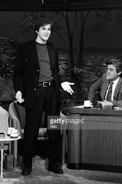 Comedian Jim Carrey during an interview with guest host Jay Leno on March 25 1991