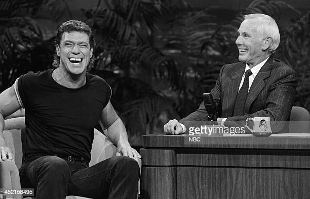 Comedian Joe Piscopo impersonating David Letterman host Johnny Carson on October 23 1987