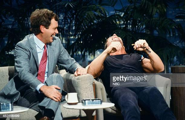 Comedian/talk show host David Letterman comedian Joe Piscopo impersonating David Letterman on October 23 1987