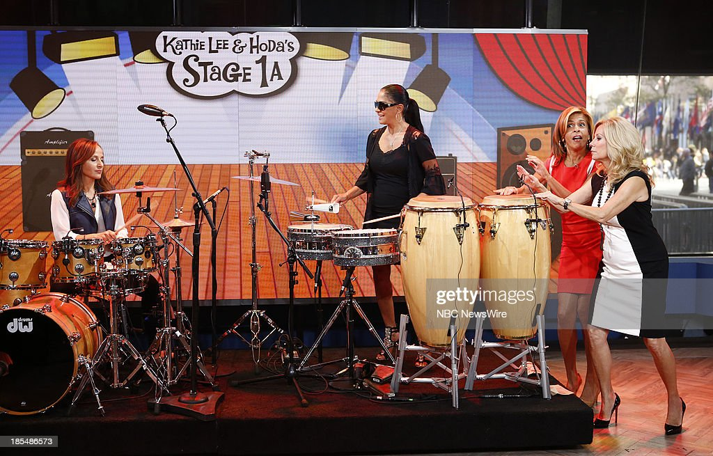 Contest winner Antonella Pasquariello, musician Sheila E, NBC News' <a gi-track='captionPersonalityLinkClicked' href=/galleries/search?phrase=Hoda+Kotb&family=editorial&specificpeople=2338013 ng-click='$event.stopPropagation()'>Hoda Kotb</a> and <a gi-track='captionPersonalityLinkClicked' href=/galleries/search?phrase=Kathie+Lee+Gifford&family=editorial&specificpeople=203269 ng-click='$event.stopPropagation()'>Kathie Lee Gifford</a> appear on NBC News' 'Today' show on October 21, 2013 on October 21, 2013 --