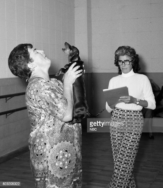 Contestant Rosalyn Lamb and Dachsund 'Heidi' backstage tryout for 'Singing Dog' contest on November 14 1971