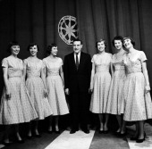 Contestants host Ted Mack