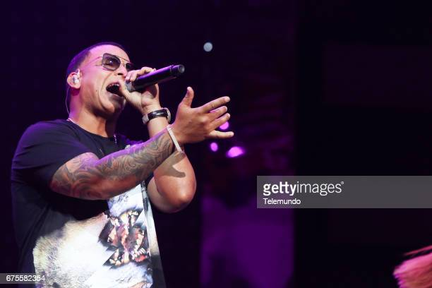 Daddy Yankee performs during rehearsals at the Watsco Center in the University of Miami Coral Gables Florida on April 25 2017