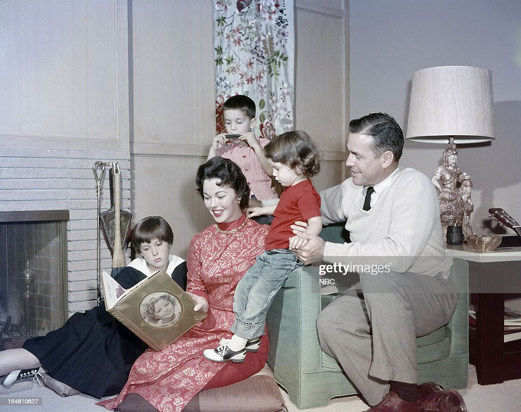 Daughter Susan Agar, actress Shirley Temple, son Charles Black Jr., daughter Lori Black, husband Charles A. Black at home in 1957 --