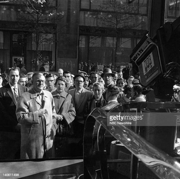 Dave Garroway reporting outside on the street in front of the 'TODAY' studio in May 1956 Photo by NBC/NBC NewsWire