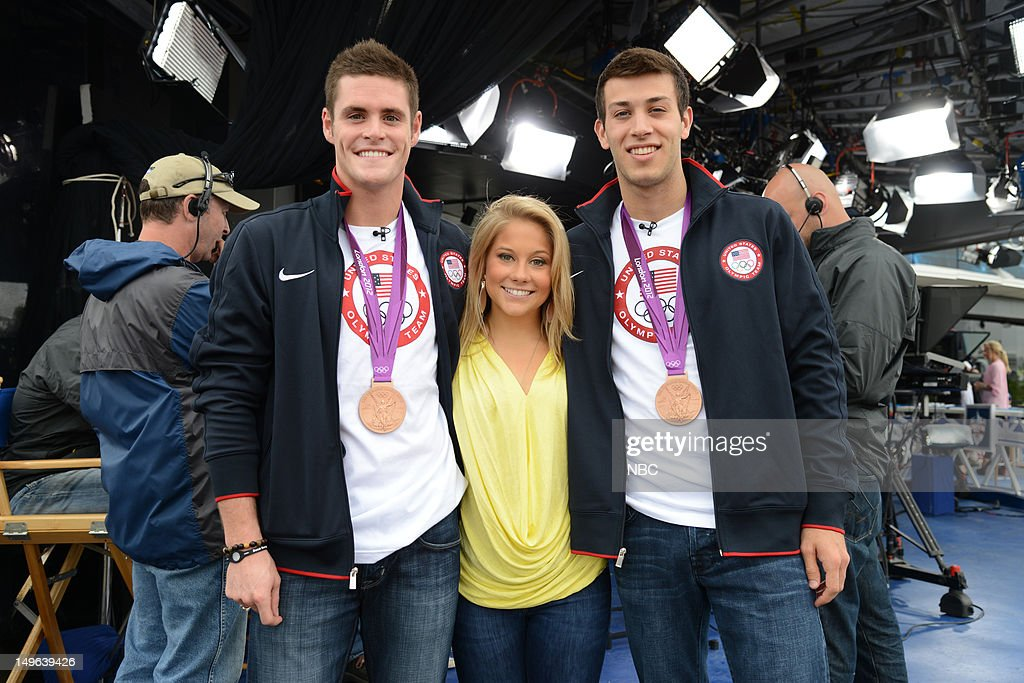 David Boudia, <a gi-track='captionPersonalityLinkClicked' href=/galleries/search?phrase=Shawn+Johnson+-+Gymnast&family=editorial&specificpeople=2330927 ng-click='$event.stopPropagation()'>Shawn Johnson</a>, <a gi-track='captionPersonalityLinkClicked' href=/galleries/search?phrase=Nick+McCrory&family=editorial&specificpeople=5405625 ng-click='$event.stopPropagation()'>Nick McCrory</a> during the 2012 Summer Olympic Games on July 31, 2012 in London, England --