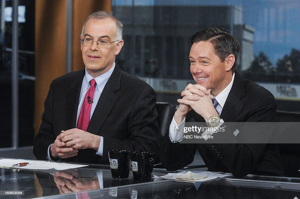 – David Brooks, Columnist, New York Times, left, and Ralph Reed, Founder and Chairman, Faith and Freedom Coalition, right, appear on 'Meet the Press' in Washington D.C., Sunday, Feb. 3, 2013.