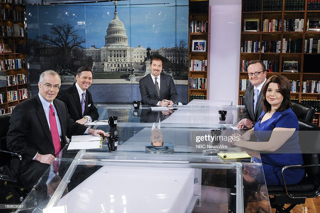 – David Brooks, Columnist, New York Times, Ralph Reed, Founder and Chairman, Faith and Freedom Coalition, moderator Chuck Todd, Robert Gibbs, Former White House Press Secretary, and Ana Navarro, Republican Strategist, appear on 'Meet the Press' in Washington D.C., Sunday, Feb. 3, 2013.