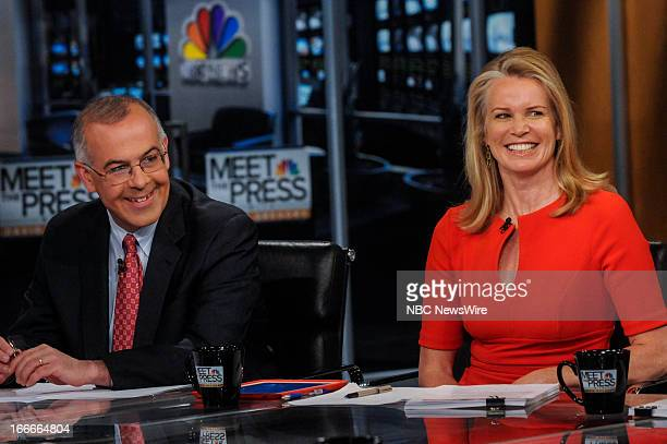 David Brooks Columnist The New York Times left and Katty Kay Washington Correspondent and Anchor BBC World News America right appear on 'Meet the...