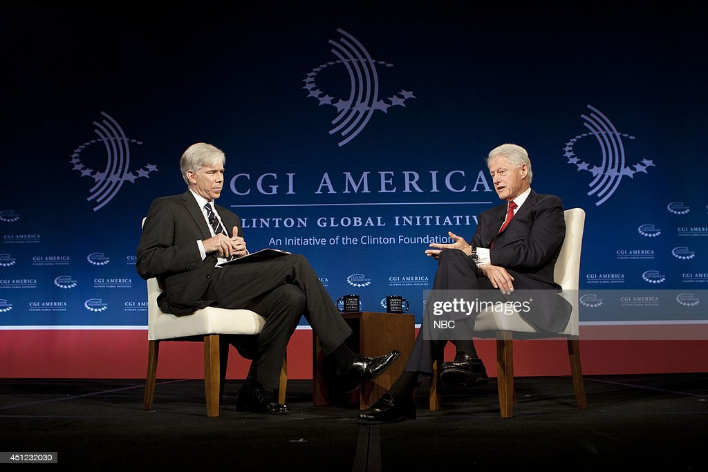 David Gregory, President <a gi-track='captionPersonalityLinkClicked' href=/galleries/search?phrase=Bill+Clinton&family=editorial&specificpeople=67203 ng-click='$event.stopPropagation()'>Bill Clinton</a> appear at the 2014 CGI America meeting in Denver --