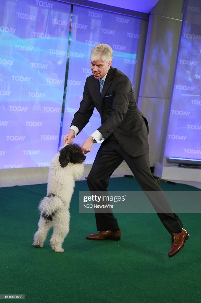David Gregory with a member of Olate Dogs appears on NBC News' 'Today' show --