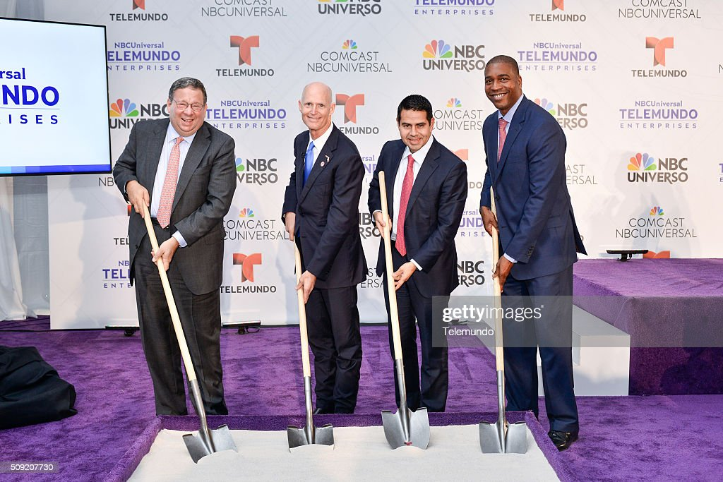 David L. Cohen, Senior Executive Vice President and Chief Diversity Officer, Comcast Corporation; Florida Governor <a gi-track='captionPersonalityLinkClicked' href=/galleries/search?phrase=Rick+Scott+-+Politiker&family=editorial&specificpeople=2370892 ng-click='$event.stopPropagation()'>Rick Scott</a>; <a gi-track='captionPersonalityLinkClicked' href=/galleries/search?phrase=Cesar+Conde&family=editorial&specificpeople=6960267 ng-click='$event.stopPropagation()'>Cesar Conde</a>, Chairman, NBCUniversal International Group and NBCUniversal Telemundo Enterprises; and Russell Benford, Deputy Mayor of Miami-Dade County pose during the groundbreaking ceremony for NBCUniversal Telemundo Enterprises' Global Headquarters on February 9, 2016 in Miami, Florida --
