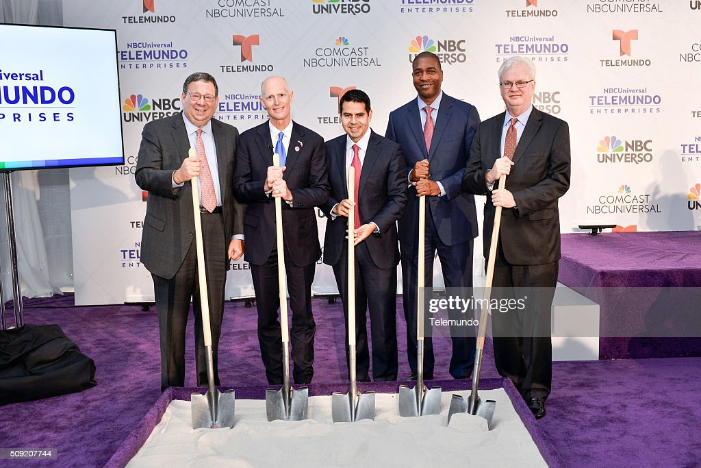 David L. Cohen, Senior Executive Vice President and Chief Diversity Officer, Comcast Corporation; Florida Governor Rick Scott; Cesar Conde, Chairman, NBCUniversal International Group and NBCUniversal Telemundo Enterprises; Russell Benford, Deputy Mayor of Miami-Dade County; and Larry K. Williams, President and CEO, The Beacon Council pose during the groundbreaking ceremony for NBCUniversal Telemundo Enterprises' Global Headquarters on February 9, 2016 in Miami, Florida -- (Photo by: Ivan Apfel/Telemundo/NBCU Photo Bank via Getty Images).