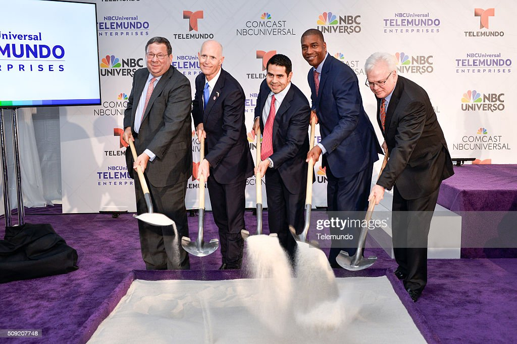 David L. Cohen, Senior Executive Vice President and Chief Diversity Officer, Comcast Corporation; Florida Governor <a gi-track='captionPersonalityLinkClicked' href=/galleries/search?phrase=Rick+Scott+-+Pol%C3%ADtico&family=editorial&specificpeople=2370892 ng-click='$event.stopPropagation()'>Rick Scott</a>; <a gi-track='captionPersonalityLinkClicked' href=/galleries/search?phrase=Cesar+Conde&family=editorial&specificpeople=6960267 ng-click='$event.stopPropagation()'>Cesar Conde</a>, Chairman, NBCUniversal International Group and NBCUniversal Telemundo Enterprises; Russell Benford, Deputy Mayor of Miami-Dade County; and Larry K. Williams, President and CEO, The Beacon Council pose during the groundbreaking ceremony for NBCUniversal Telemundo Enterprises' Global Headquarters on February 9, 2016 in Miami, Florida --