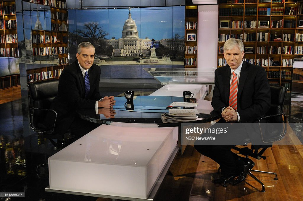 – Denis McDonough, White House Chief of Staff, left, and moderator David Gregory, right, appear on 'Meet the Press' in Washington D.C., Sunday, Feb. 17, 2013.