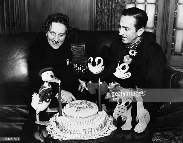 Donald Duck Elza Schallert Mickey Mouse Walt Disney Minnie Mouse Pluto with a birthday cake for Donald Photo by NBC/NBCU Photo Bank