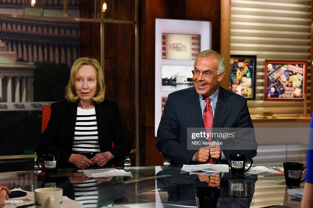 Doris Kearns Goodwin Presidential Historian left and David Brooks Columnist The New York Times right appear on 'Meet the Press' in Washington DC...
