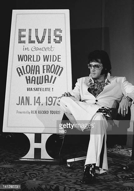Elvis Presley during a promotional interview at the Las Vegas Hilton in Las Vegas Nevada on September 4 1972 for his televised concert 'Elvis Aloha...